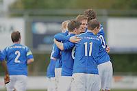 VOETBAL: SURHUISTERVEEN: Sportpark 't Ketting, 20-10-2012, vv 't Fean '58 - SC Veenwouden, Eindstand 2-1, blijdschap bij de spelers van vv 't Fean, Jelte Bottema (#5), Wietze Vrij (#6), Joost Nieuwenhuis (#11), Ale Lanting (#3) ©foto Martin de Jong