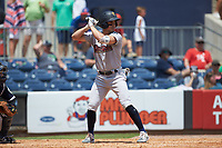 Mandy Alvarez (24) of the Scranton/Wilkes-Barre RailRiders at bat against the Gwinnett Stripers at Coolray Field on August 18, 2019 in Lawrenceville, Georgia. The RailRiders defeated the Stripers 9-3. (Brian Westerholt/Four Seam Images)