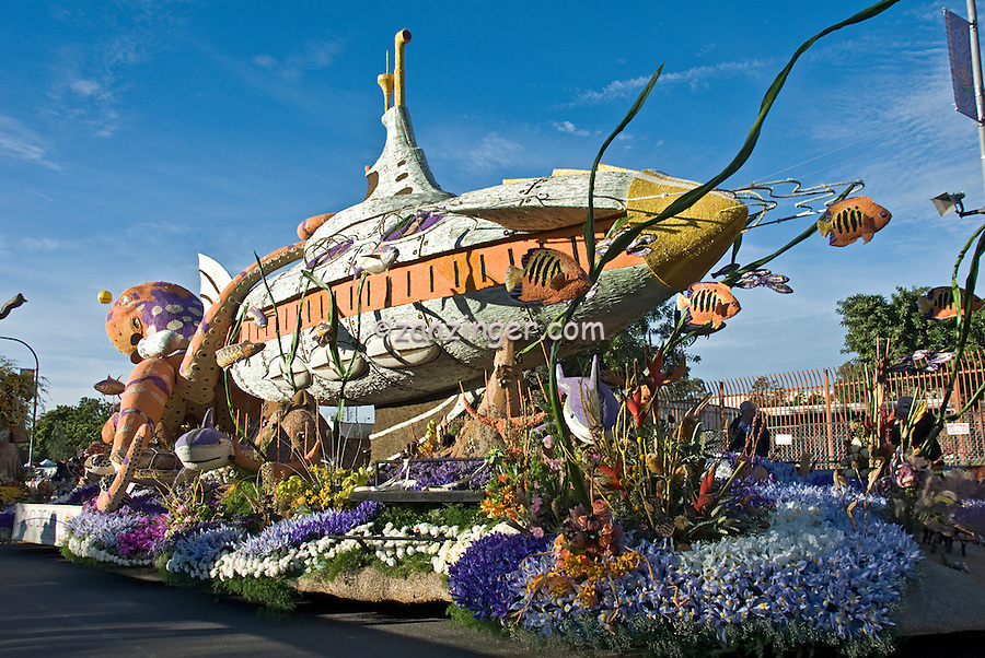 """Tournament of Roses Parade Floats City of Long Beach Rose Parade Float """"Passport to the Pacific"""" submarine"""