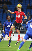 31st October 2017, Cardiff City Stadium, Cardiff, Wales; EFL Championship football, Cardiff City versus Ipswich Town; Jonas Knudsen of Ipswich Town clears the cross with a header