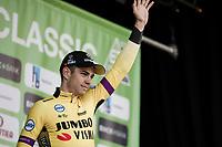 podium with 2nd place finisher Wout Van Aert (BEL/Jumbo-Visma)<br /> <br /> 62nd E3 Harelbeke 2019 (1.UWT)<br /> Harelbeke – Harelbeke: 203,9km<br /> ©kramon