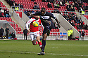 Bondz N'Gala of Stevenage shoots. Rotherham United v Stevenage - FA Cup 1st Round - New York Stadium, Rotherham - 3rd November 2012. © Kevin Coleman 2012.