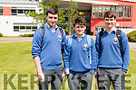 Students from Coláiste Ide & Iosef Abbeyfeale who sat the Leaving Certificate on Wednesday, from left: Jack Cotter, Daniel Leahy & Andreas Tiivis.