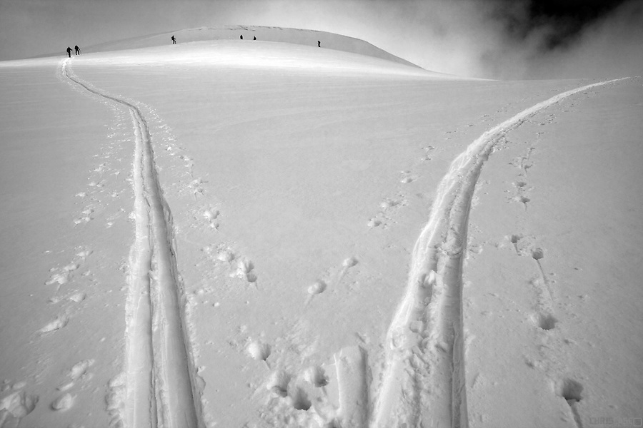 Skiers track their way up a powder slope near the Sangree Froelicher Hut above Leadville, Colorado.