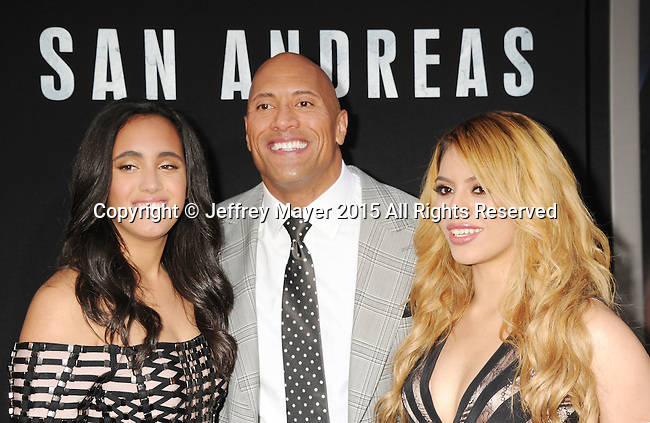HOLLYWOOD, CA - MAY 26: (L-R) Simone Alexandra Johnson, actor Dwayne 'The Rock' Johnson and singer Dinah Jane Hansen arrive at the 'San Andreas' - Los Angeles Premiere at TCL Chinese Theatre IMAX on May 26, 2015 in Hollywood, California.