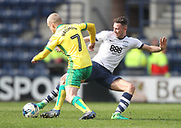 Preston North End's Alan Browne tackles Norwich City's Steven Naismith<br /> <br /> Photographer Mick Walker/CameraSport<br /> <br /> The EFL Sky Bet Championship - Preston North End v Norwich City - Monday 17th April 2017 - Deepdale - Preston<br /> <br /> World Copyright &copy; 2017 CameraSport. All rights reserved. 43 Linden Ave. Countesthorpe. Leicester. England. LE8 5PG - Tel: +44 (0) 116 277 4147 - admin@camerasport.com - www.camerasport.com