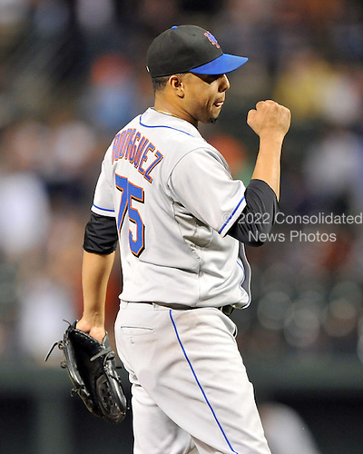 Baltimore, MD - June 16, 2009 -- New York Mets closer Francisco Rodriguez (75) celebrates after recording a save against the Baltimore Orioles at Orioles Park at Camden Yards in Baltimore, Maryland on Tuesday, June 16, 2009.  The Mets won the game 6 - 4..Credit: Ron Sachs / CNP.(RESTRICTION: NO New York or New Jersey Newspapers or newspapers within a 75 mile radius of New York City)