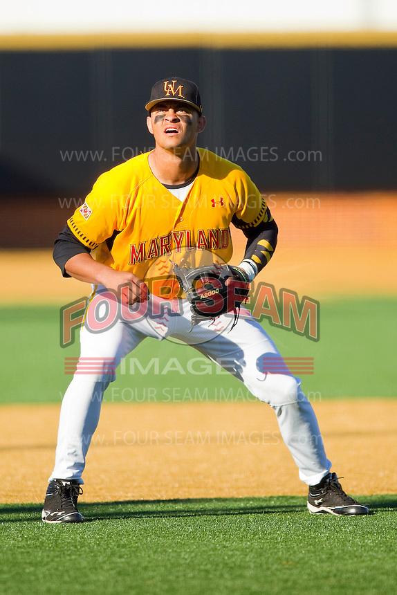 Maryland Terrapins third baseman K.J. Hockaday #8 on defense against the Wake Forest Demon Deacons at Wake Forest Baseball Park on March 10, 2012 in Winston-Salem, North Carolina.  (Brian Westerholt/Sports On Film)