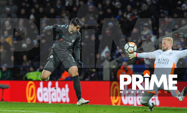 Alvaro Morata of Chelsea hits a shot at goal during the FA Cup QF match between Leicester City and Chelsea at the King Power Stadium, Leicester, England on 18 March 2018. Photo by Stephen Buckley / PRiME Media Images.
