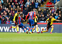 7th March 2020; Selhurst Park, London, England; English Premier League Football, Crystal Palace versus Watford; Jordan Ayew of Crystal Palace shoots to score his sides 1st goal in the 28th minute to make it 1-0