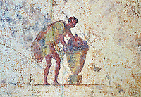 Roman fresco of a man from the The Large Columbarium in Villa Doria Panphilj, Rome. A columbarium is usually a type of tomb with walls lined by niches that hold urns containing the ashes of the dead.  Large columbaria were built in Rome between the end of the Republican Era and the Flavio Principality (second half of the first century AD).  Museo Nazionale Romano ( National Roman Museum), Rome, Italy.