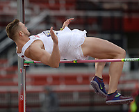 NWA Democrat-Gazette/ANDY SHUPE<br /> Arkansas' Gabe Moore clears 6 feet 3 3/4 while competing in the high jump portion of the Decathlon Thursday, May 9, 2019, during the SEC Outdoor Track and Field Championships at John McDonnell Field in Fayetteville. Visit nwadg.com/photos to see more photographs from the meet.