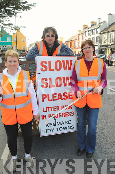 LITTER-LY GREAT: Honor Fitzgerald, Noel Crowley, Brigid OSullivan Baker, pictured at the start of a litter pick from Kenmare to Molls Gap on Saturday.