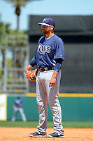 Tampa Bay Rays first baseman James Loney #21 during a Spring Training game against the Detroit Tigers at Joker Marchant Stadium on March 29, 2013 in Lakeland, Florida.  (Mike Janes/Four Seam Images)