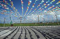 Prayer flags near Qinghai Lake on the Qinghai-Tibetan Plateau. Qinghai Province. China. 2010