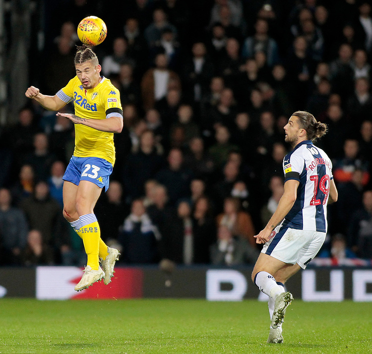 Leeds United's Kalvin Phillips heads clear<br /> <br /> Photographer David Shipman/CameraSport<br /> <br /> The EFL Sky Bet Championship - West Bromwich Albion v Leeds United - Saturday 10th November 2018 - The Hawthorns - West Bromwich<br /> <br /> World Copyright © 2018 CameraSport. All rights reserved. 43 Linden Ave. Countesthorpe. Leicester. England. LE8 5PG - Tel: +44 (0) 116 277 4147 - admin@camerasport.com - www.camerasport.com