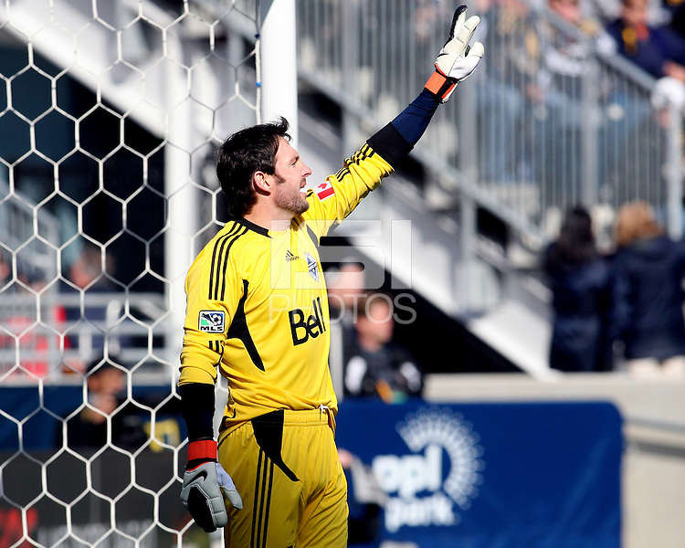 Joe Cannon#1 of the Vancouver Whitecaps during an MLS match against the Philadelphia Union at PPL Park in Chester, PA. on March 26 2011.Union won 1-0.