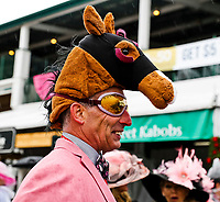 LOUISVILLE, KY - MAY 05: A man wears a horse hat and goggles on Kentucky Oaks Day at Churchill Downs on May 5, 2017 in Louisville, Kentucky. (Photo by Jesse Caris/Eclipse Sportswire/Getty Images)