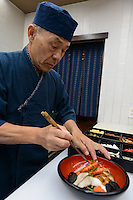 "Yasuo Namba of Kidoairaku sushi restaurant preparing ""barazushi"" sushi. Okayama, Okayama Prefecture, Japan, October 6, 2015. The southern city of Okayama is well-known for its temperate climate, castle, and the beautiful traditional Korakuen gardens."