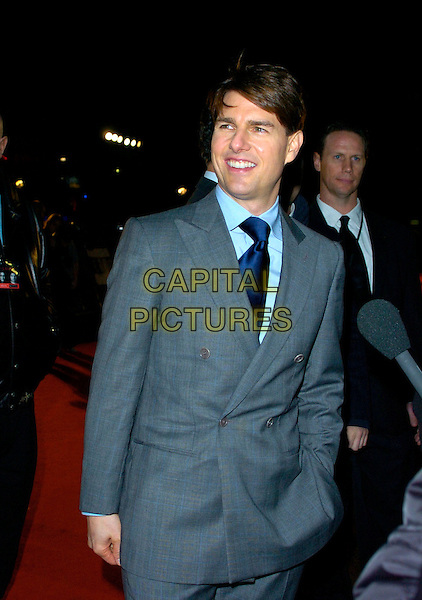 "TOM CRUISE .The Times BFI London Film Festival: ""Lions For Lambs"" - world premiere, Odeon Leicester Square, London, England. October 22nd, 2007 .half length grey gray suit navy blue tie.CAP/CAN.©Can Nguyen/Capital Pictures"