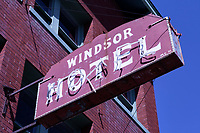 Broken neon sign of the Windsor Hotel in Ogden, Utah
