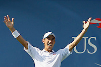 Kei Nishikori of Japan celebrates after betting Novak Djokovic of Serbia during men semifinal match at the US Open 2014 tennis tournament in the USTA Billie Jean King National Center, New York.  09.05.2014. VIEWpress