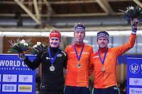 SCHAATSEN: BERLIJN: Sportforum Berlin, 06-12-2014, ISU World Cup, Podium 5000m Men Division A, Sverre Lunde Pedersen (NOR), Jorrit Bergsma (NED), Douwe de Vries (NED), ©foto Martin de Jong