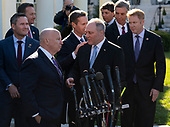 Representative Kevin Brady (Republican of Texas)(L) and United States House Minority Whip Steve Scalise (Republican of Louisiana)(R) along with other Republican members of Congress speak to the media after meeting with United States President Donald J. Trump  at the White House in Washington, DC, March 26, 2019. Credit: Chris Kleponis / CNP