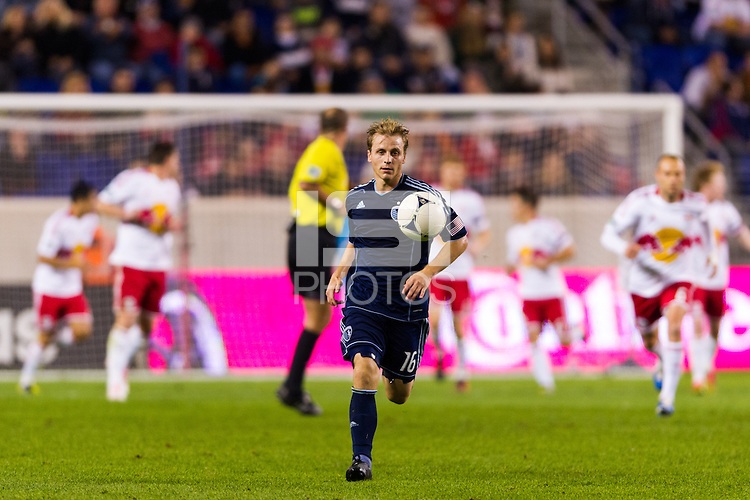 Seth Sinovic (16) of Sporting Kansas City. The New York Red Bulls and Sporting Kansas City played to a 0-0 tie during a Major League Soccer (MLS) match at Red Bull Arena in Harrison, NJ, on October 20, 2012.
