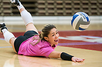 NWA Democrat-Gazette/BEN GOFF @NWABENGOFF<br /> Okiana Valle, Arkansas senior libero, works on pancake digs Wednesday, Nov. 7, 2018, during practice in Barnhill Arena.