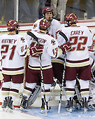 Steven Whitney (BC - 21), Cam Atkinson (BC - 13), Chris Kreider (BC - 19), Paul Carey (BC - 22) - The Boston College Eagles defeated the University of Massachusetts-Amherst Minutemen 5-2 on Saturday, March 13, 2010, at Conte Forum in Chestnut Hill, Massachusetts, to sweep their Hockey East Quarterfinals matchup.