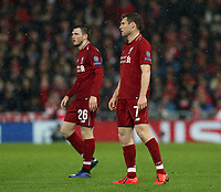Liverpool's Andrew Robertson (left) and James Milner<br /> <br /> Photographer Rich Linley/CameraSport<br /> <br /> UEFA Champions League Round of 16 First Leg - Liverpool and Bayern Munich - Tuesday 19th February 2019 - Anfield - Liverpool<br />  <br /> World Copyright © 2018 CameraSport. All rights reserved. 43 Linden Ave. Countesthorpe. Leicester. England. LE8 5PG - Tel: +44 (0) 116 277 4147 - admin@camerasport.com - www.camerasport.com