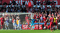 Pictured: Swansea's Michel Vorm protests, Southampton's goal is disallowed.<br /> Saturday 20 April 2013<br /> Re: Barclay's Premier League, Swansea City FC v Southampton at the Liberty Stadium, south Wales.