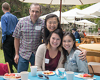 From left, Jon Bradshaw, Maggie Bradshaw, graduate Sarah Bradshaw and Catherine Bradshaw. Graduating seniors and their families and friends attend Brunch with President Jonathan Veitch at Collins House, May 16, 2015. (Photo by Marc Campos, Occidental College Photographer)
