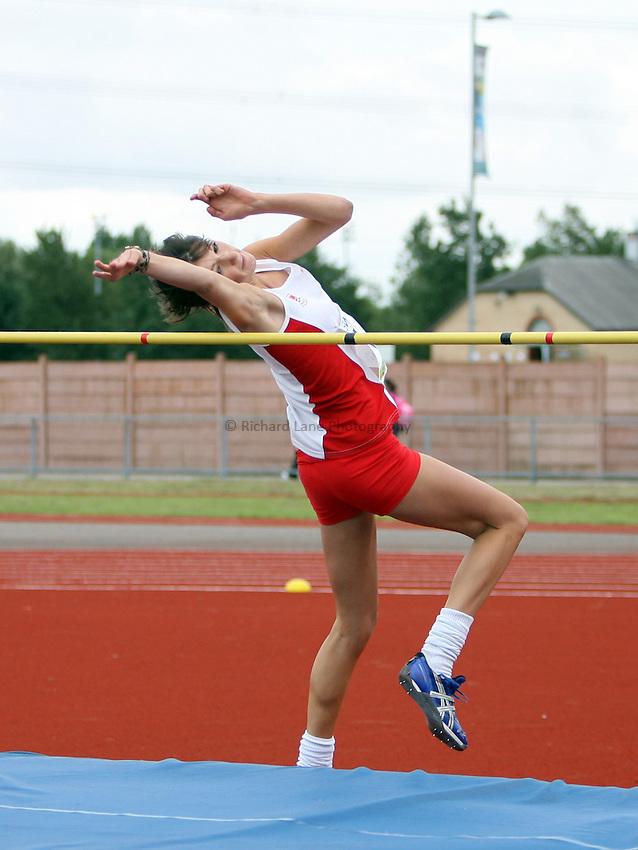 Photo: Rich Eaton...Schools International Athletic Board, Track & Field International Match, Newport. 21/07/2007. Hannah Dickson of England wins gold in the girls high jump.