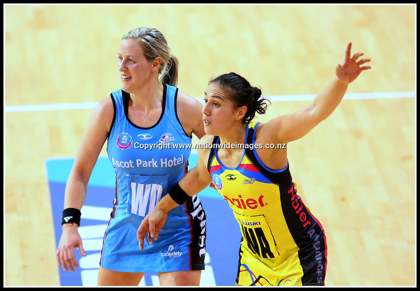 Pulse's Liana Leota, right, and Steel's Wendy Frew in the ANZ Championship netball match, Invercargill Velodrome, Invercargill, New Zealand, Sunday, June 23, 2013. Credit:NINZ/Dianne Manson