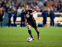 Charlie Davies (9) of D.C. United takes the ball into the box during the game at RFK Stadium.  D.C. United tied the LA Galaxy, 1-1.