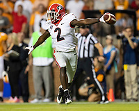 KNOXVILLE, TN - OCTOBER 5: Richard LeCounte #2 of the Georgia Bulldogs celebrates his interception during a game between University of Georgia Bulldogs and University of Tennessee Volunteers at Neyland Stadium on October 5, 2019 in Knoxville, Tennessee.