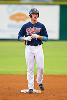 Max Kepler #23 of the Elizabethton Twins stands on second base after hitting a double in the first inning against the Bluefield Blue Jays at Joe O'Brien Field on July 14, 2012 in Elizabethton, Tennessee.  The Twins defeated the Blue Jays 4-0.  (Brian Westerholt/Four Seam Images)