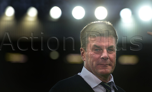 30.09.2015. Manchester, England.  Wolfsburg's Head coach Dieter Hecking with a confident smile during the UEFA Champions League Group B first leg soccer match between Manchester United and VfL Wolfsburg at the Old Trafford in Manchester 30 September 2015.