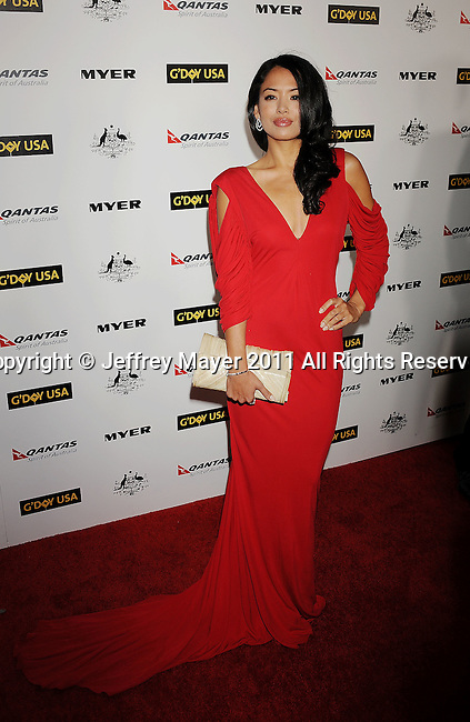 HOLLYWOOD, CA - January 22: Stephanie Jacobsen arrives at the G'Day USA Australia Week 2011 Black Tie Gala at the Hollywood Palladium on January 22, 2011 in Hollywood, California.