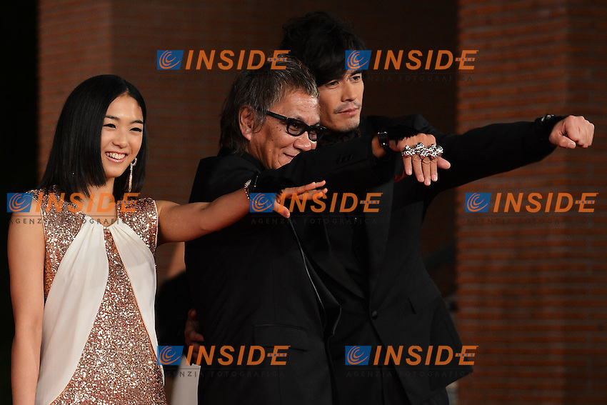 "Actress Erina Mizuno, direcotr Takashi Miike, actor Hideaki Ito - movie ""Aku no kyoten / Lesson of Evil"".Roma 9/11/2012 Auditorium.Festival del Cinema di Roma.Foto Guido Aubry Elipics"