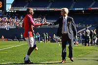 San Diego, CA - Sunday January 29, 2017: DaMarcus Beasley, Sunil Gulati prior to an international friendly between the men's national teams of the United States (USA) and Serbia (SRB) at Qualcomm Stadium.