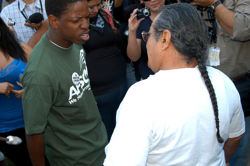 Protesting the SB1611 at the State Capitol in Phoenix, AZ two protesters engage in an exchange of words Tuesday, February 22, 2011..Photo by AJ Alexander