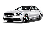 Stock pictures of low aggressive front three quarter view of 2016 Mercedes Benz C-Class AMG-C63-S 4 Door Sedan Low Aggressive