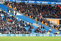 Police and security staff between Cardiff and Swansea supporters during the Sky Bet Championship match between Cardiff City and Swansea City at the Cardiff City Stadium, Cardiff, Wales, UK. Sunday 12 January 2020