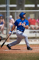 New York Mets outfielder Tim Tebow (15) at bat during a minor league Spring Training game against the Miami Marlins on March 26, 2017 at the Roger Dean Stadium Complex in Jupiter, Florida.  (Mike Janes/Four Seam Images)