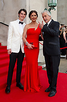 Dylan Michael Douglas, Catherine Zeta-Jones and Michael Douglas arrive for the gala dinner at the Guildhall in Swansea