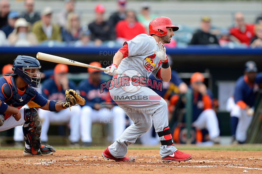 St. Louis Cardinals second baseman Daniel Descalso #33 during a Spring Training game against the Houston Astros at Osceola County Stadium on March 1, 2013 in Kissimmee, Florida.  The game ended in a tie at 8-8.  (Mike Janes/Four Seam Images)