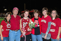 STANFORD, CA - OCTOBER 21, 2011: Devon Holman and family celebrate the redshirt junior's career at Stanford during half-time at a game between Stanford field hockey and UC Davis at the Varsity Field Hockey Turf in Stanford, California on October 21, 2011.  Stanford defeated UC Davis, 5-0.